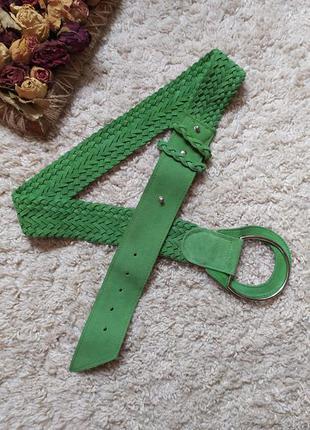 Ремень кожаный плетёный пояс натуральная замша зелёный