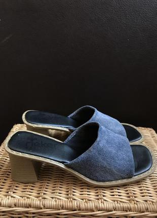 Rieker винтажные джинсовые шлёпанцы босоножки шлёпки сандали сабо