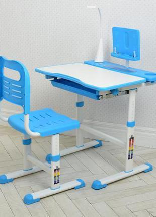 Парта детская регулируемая с led лампой и подставкой голубая арт. 4428-4