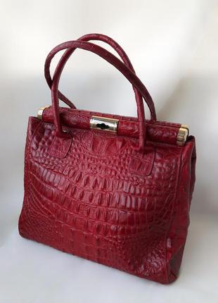 Винтажная сумка ридикюль genuine leather под крокодила винтаж