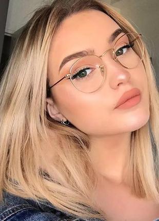 Стильные имиджевые очки круглые в золотой оправе унисекс