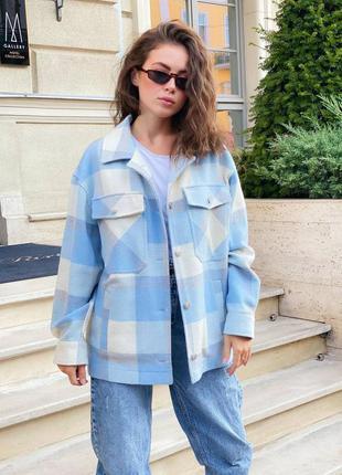 Рубашка шерстяная теплая голубая вклетку с пуговицами 🍃