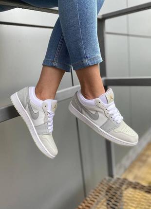 Женские кроссовки nike air jordan 1 low beige демисезонные