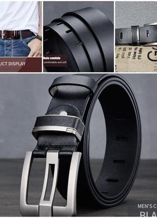 Кожаный ремень с металлической пряжкой