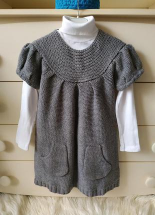 Zara теплое вязаное платье и водолазка, шерсть р.5-6 (118 см)