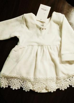 Платье бодик на малышку 2-4мес.