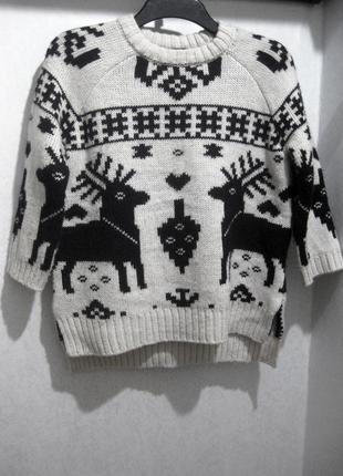 Классный чёрно белый свитер с принтом олени h&m