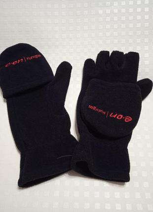 Мужские перчатки -варежки флисовые 2 в 1, без пальцев