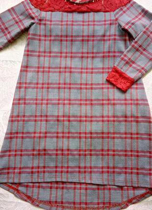 Оригинальное ,нарядное платье в клетку с ажурными вставками свободного кроя