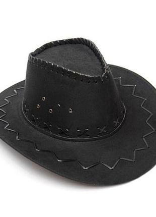 Шляпа-ковбойка черная замшевая унисекс + подарок