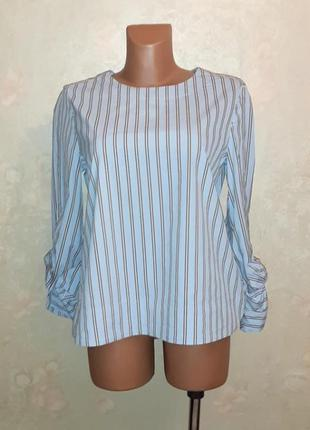🎁1+1=3 стильная нежно-голубая блуза блузка louis&mia, размер 46 - 48