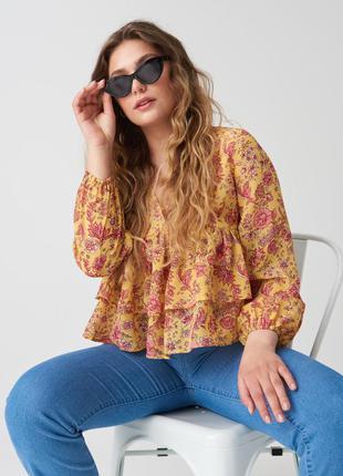 Новая широкая желтая блузка оверсайз узор коралловые цветы оборка xxs s m xl