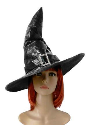 Маскарадная черная шляпа для костюма ведьмы волшебницы хэллоуин новый год +подарок