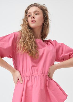 Новая однотонная розовая блузка пышные рукава оборка xxs xs s xl