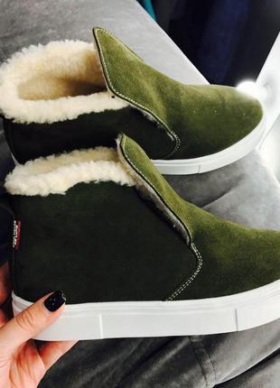 Новинка! стильные натуральные кожаные зимние или демисезонные ботинки
