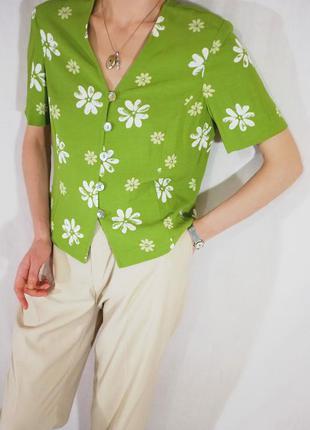 Чудесная натуральная винтажная блуза в цветочек (ретро, винтаж)
