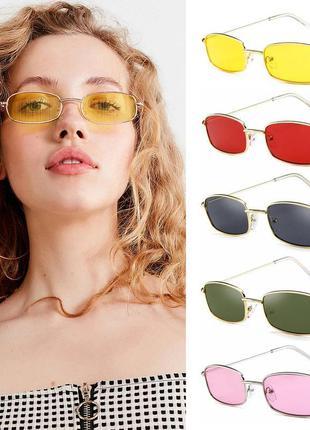 Имиджевые желтые солнцезащитные очки маленькие небольшие женские мужские