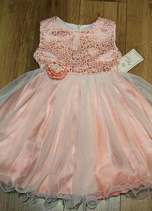Нарядное платье для девочки, розовый атлас, плетёное кружево. viani (модные детки)