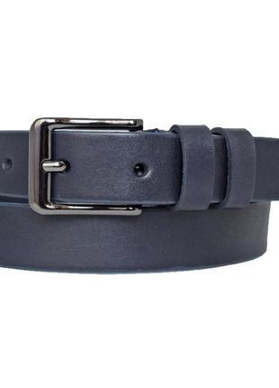 Ремень детский кожаный для мальчика синий классический lazur5
