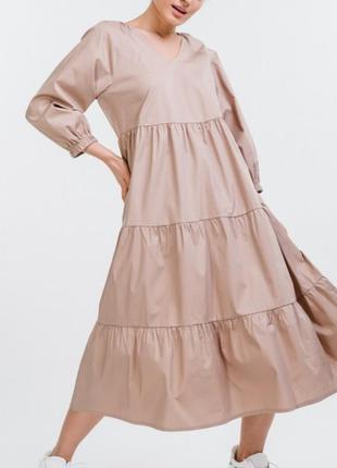 Молодёжное платье с воланами  свободного кроя, можно беременным