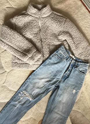 Комплект xs-s куртка теди и джинсы mom