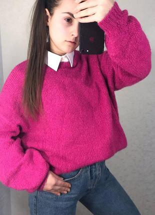 Шикарный яркий базовый свитер розовый
