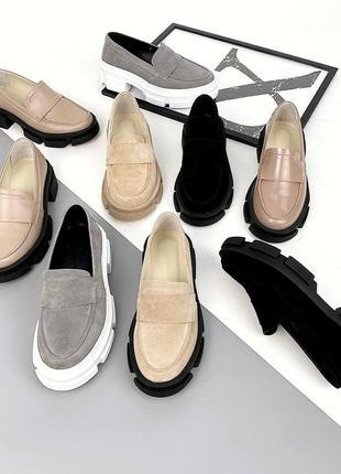 От производителя 36-40 рр туфли, лоферы на платформе натуральная замша/кожа