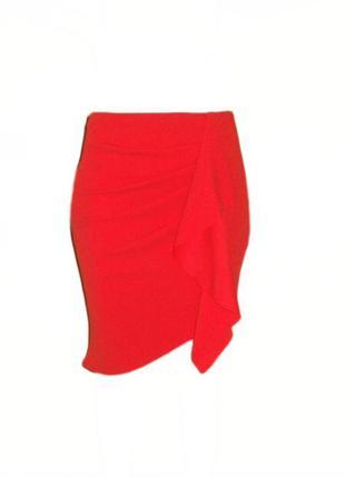 Оригинальная юбка boohoo с рюшами, воланом, оборкой с асимметричным низом размер 14 наш 48