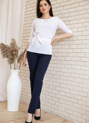 Блузка с рукавами 3/4 и поясом цвет белый