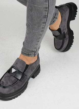 Туфли замшевые серые (337059)