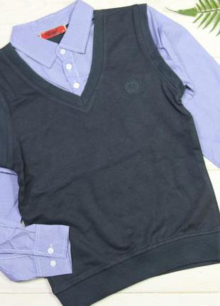 Кофта джемпер школьная шкільна обманка с рубашкой