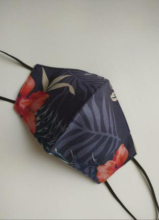 Синяя многоразовая маска под джинс/принт пальмовые листья/