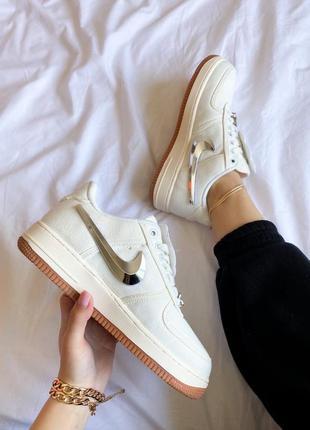 Стильные женские кроссовки демисезонные nike air force белые текстильные найк кросівки