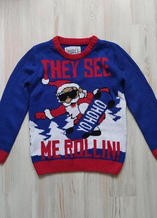 Новогодняя рождественская кофта свитшот свитер  на 8лет