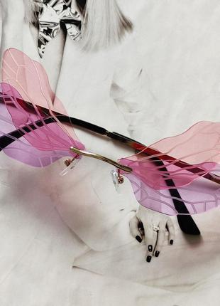 Очки бабочки розовый с сиреневым
