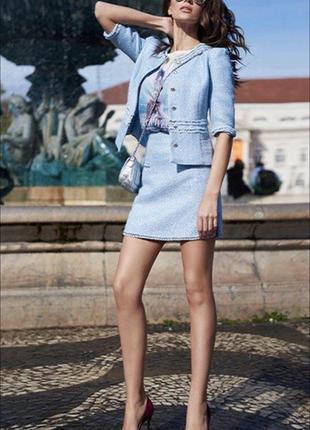 Твидовая голубая юбка love republic