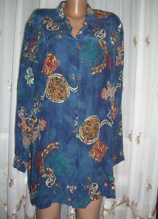 Блузка-рубашка удлиненная, размер 20