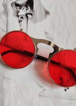 Очки круглые панк двойной флип красный в золоте