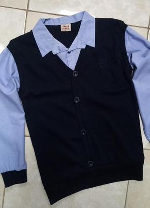 Реглан обманка рубашка и жилет в школу 9-11 лет турция