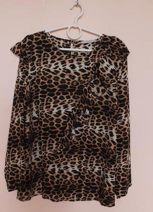 Леопардовая шифоновая блузка, блуза, блузон, рубашка 54-56 р.
