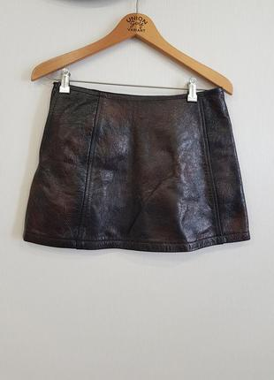 Стильная кожаная короткая юбка replay