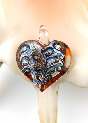 Кулон подвеска муранское стекло в форме сердце сердечко зеленый коричневый серебро мурано новый