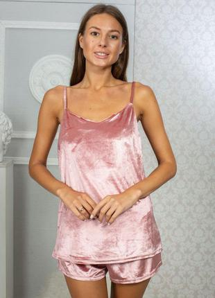 Пижама велюровая розовая