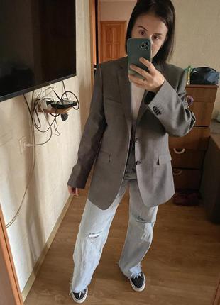 Пиджак винтажные в клетку с жакетом