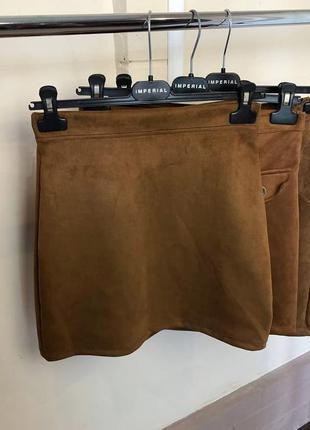 Замшевая мини-юбка оттенка терракоты