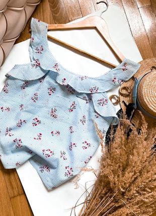 Футболка майка блуза кофта з рюшами голубая майка футболка полосатая в цветочек