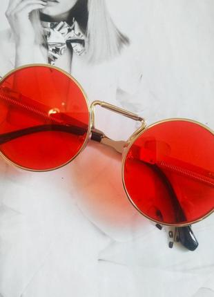 Круглые очки гоглы с пружинами красный в золоте