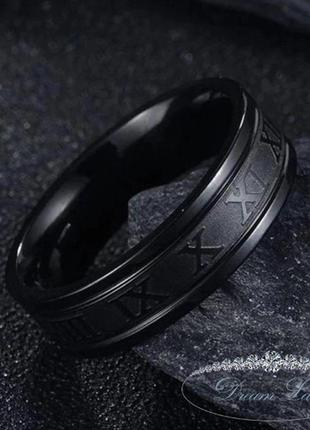Кольцо из нержавеющей медицинской стали с эмалью «time» (р 20.3)