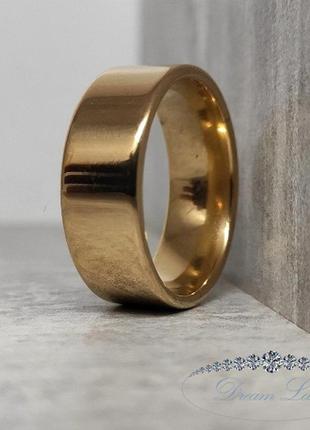 Кольцо из нержавеющей медицинской стали с позолото «скромная роскошь» (р 16.3 17.3 18.3 19.3 21 22)
