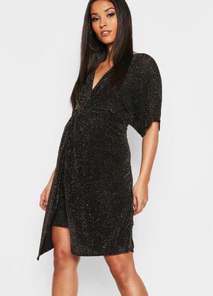 🤰шикарное мерцающее вечернее платье для беременной boohoo, золотистый люрекс❤️